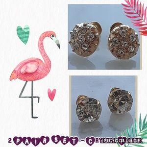 New! 2 pair set crystal post earrings + Gift